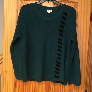 🌲Hunter Green Sweater with Velvet Embellishments